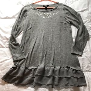 Style and Co. Classy Grey Top w/ FauxPearl Beading